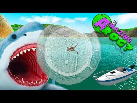 Летающая ЛЯГУШКА в ЗОРБЕ против Акулы Миссия Котики AMAZING FROG #4 Game For kids & childrens