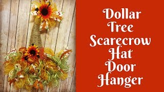 Fall Crafts: Dollar Tree Scarecrow Hat Door Hanger