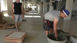 Как работают промышленные плиточники  100 м2 в час. Fast tiler work-1000 m2 per day