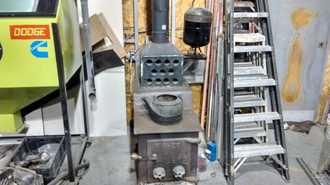 Wood and waste used oil combo shop heater with blower for Used motor oil heaters