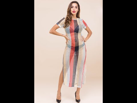 Sexy Hot Temperament Multicolor Striped Round Neck Short Sleeve Fishnet Split Dress (A21607)