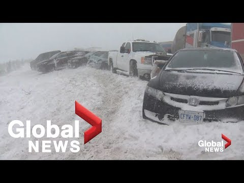 Massive pile-up involves over 70 vehicles on snowy Ontario Hwy. 400
