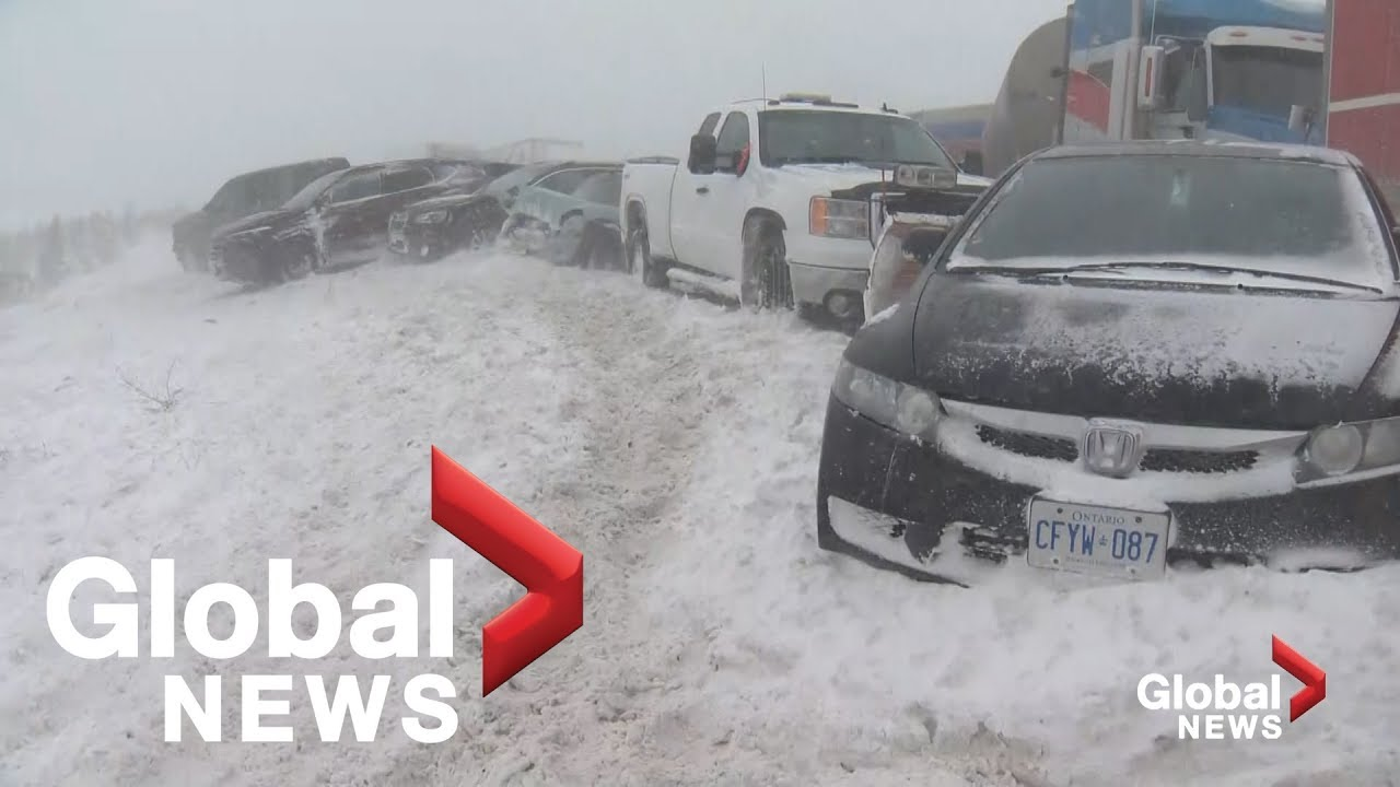 Massive pile-up involves over 70 vehicles on snowy Ontario Hwy  400