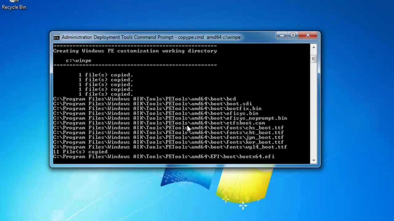 how to create windows pe boot disk windows 7