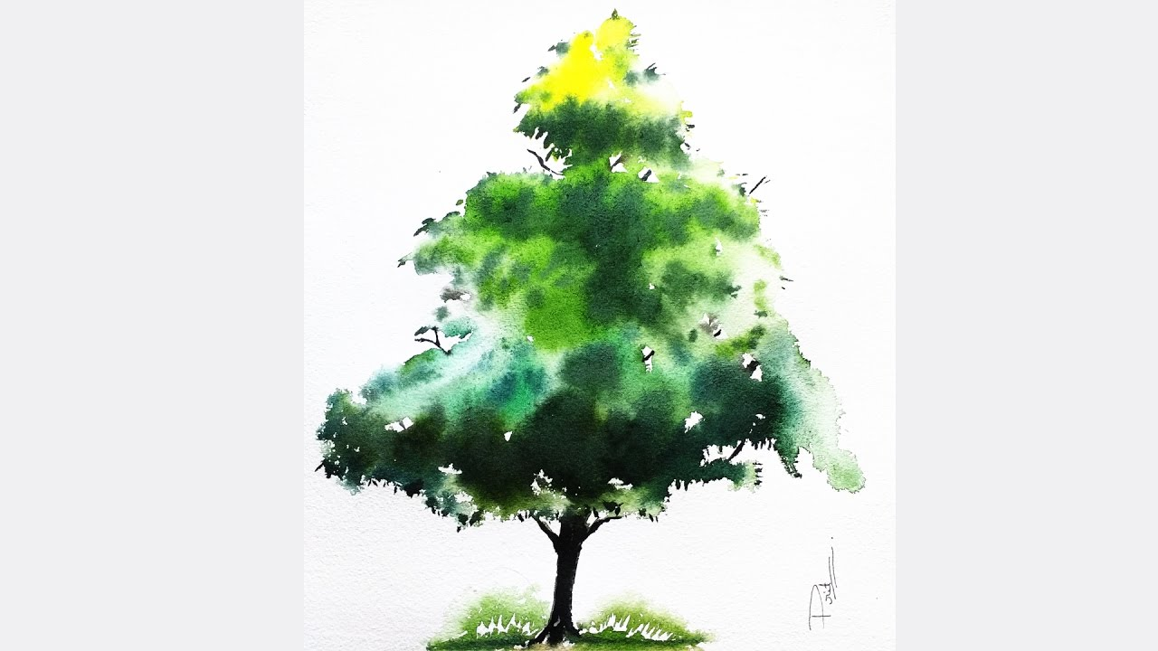 Watercolor Painting Tutorial: How to paint a basic Tree ( Easy tips ...