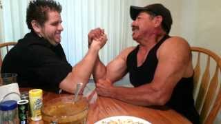 My Dad challenges me to an arm wrestling match and loses.
