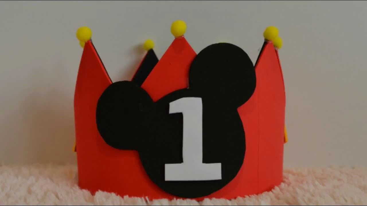 Cómo hacer una corona de Mickey Mouse para cumpleaños   Mickey Mouse Crown 3ba0493ddb0