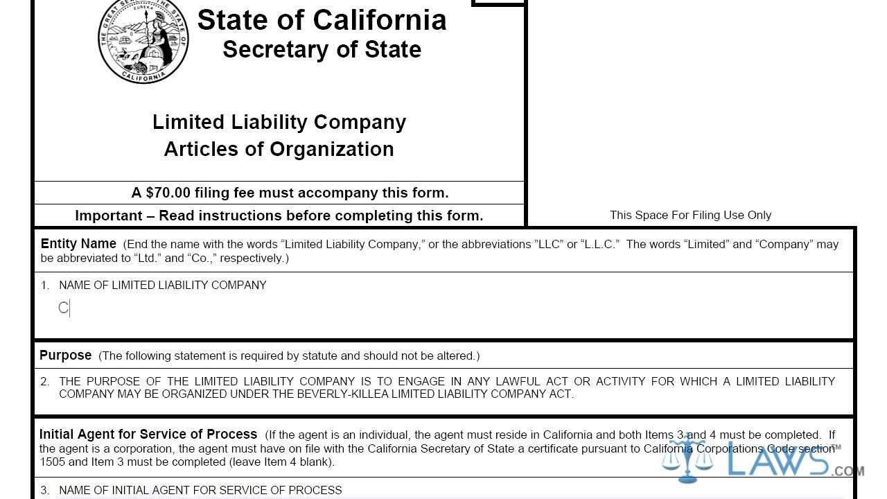 Articles of Organization CA LLC 1 - YouTube