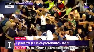 DOI JANDARMI BATUTI SI APARATI DE PROTESTATARI - PROTEST 10 AUGUST 2018 IN PIATA VICTORIEI