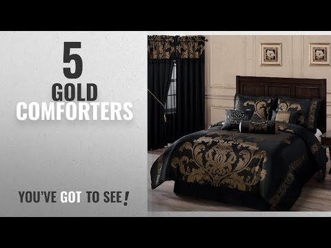 Top 10 Gold Comforters  [2018]: Chezmoi Collection 7-Piece Jacquard Floral Comforter