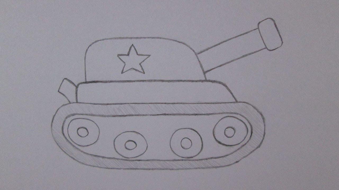 Cómo dibujar un tanque de guerra - YouTube