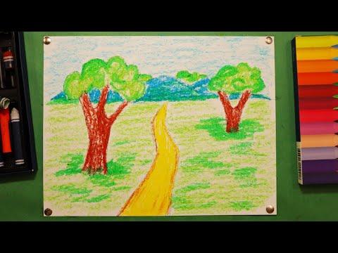 Поэтапное рисование ПЕЙЗАЖА 🏞️ для детей. Занятия по рисованию природы🏝️.