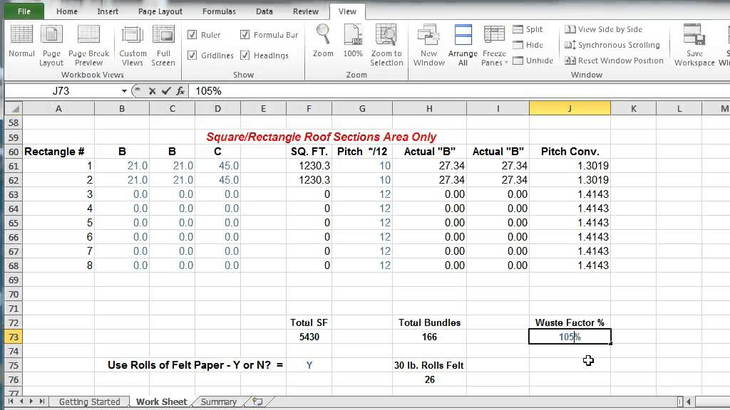 High Quality Comprotex Home Building Roof Shingle Calculator In Excel Instructional Video