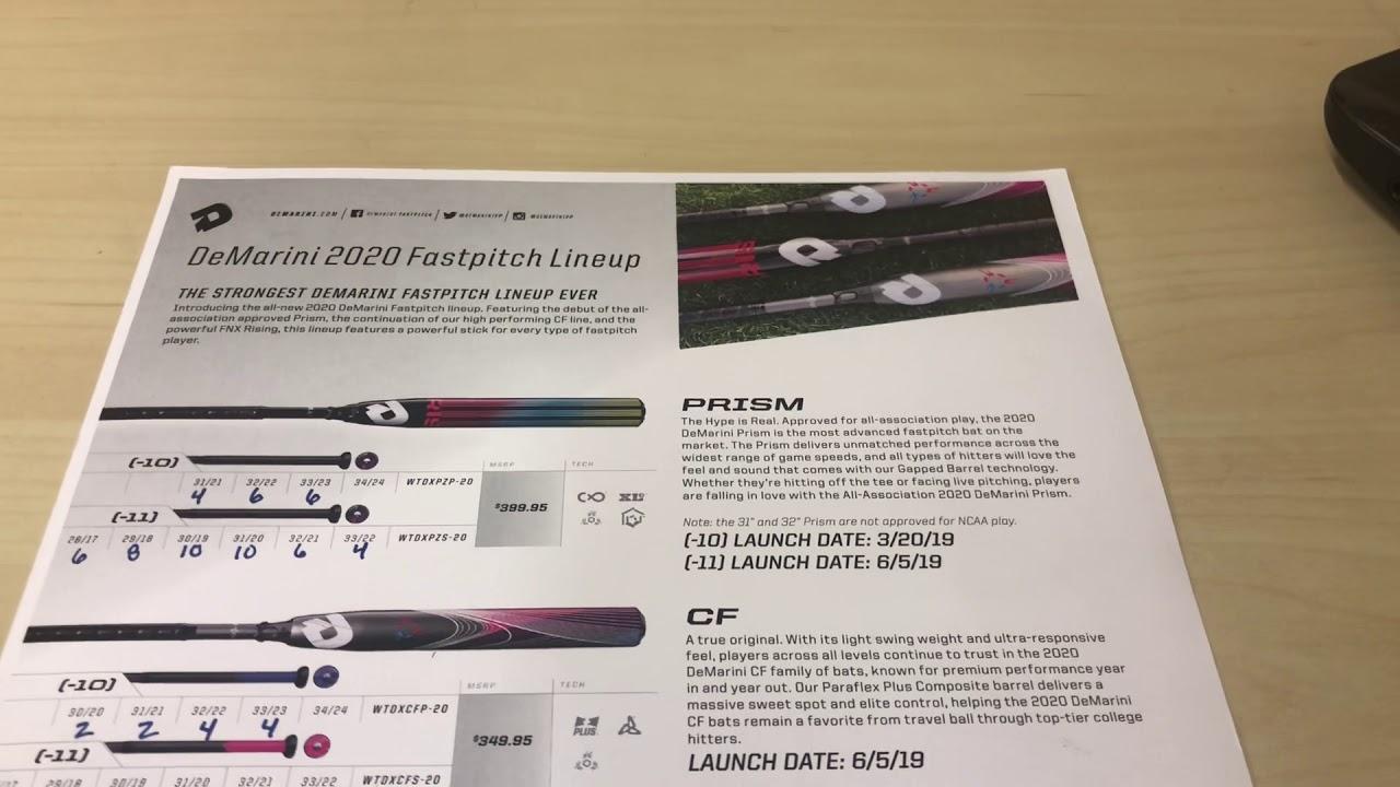 DeMarini 2020 Fastpitch Softball Bats Prism CF FNX RISING
