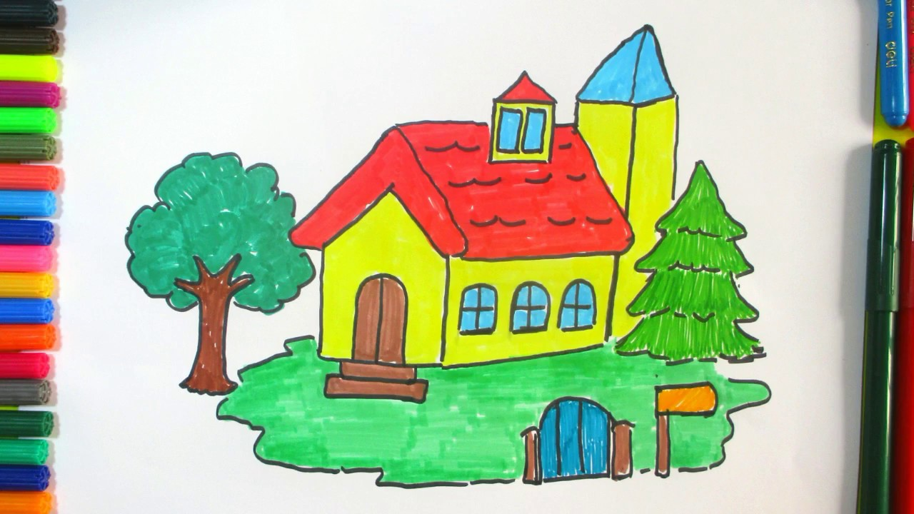 Learn how to draw a beautiful house for kids colorful for Draw house online