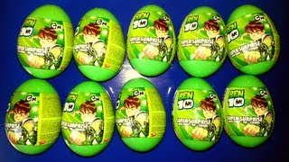 10 Surprise Eggs Ben 10 Unwrapping Plastic Eggs (HD)