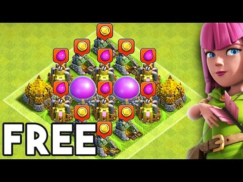 FREE LOOT WITH NO WORK!!   Clash of Clans   TH7 WITH NO WALLS