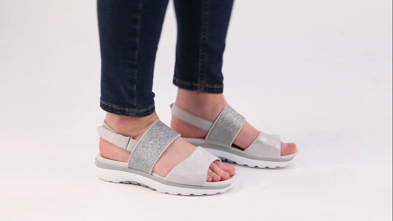 Gabor Sisco Ice Pewter Leather Womens Casual Sandals YouTube