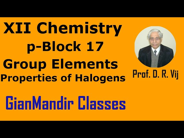 XII Chemistry | p-Block 17 Group Elements | Properties of Halogens by Ruchi Ma'am