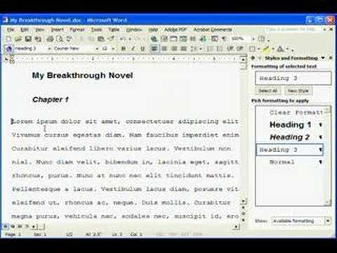 manuscript formatting in ms word