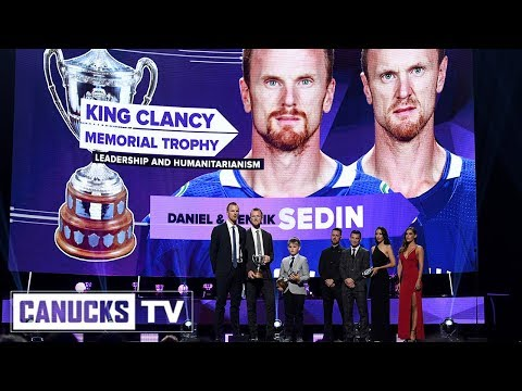 Daniel and Henrik Sedin Awarded the King Clancy Memorial Trophy (Jun. 20, 2018)