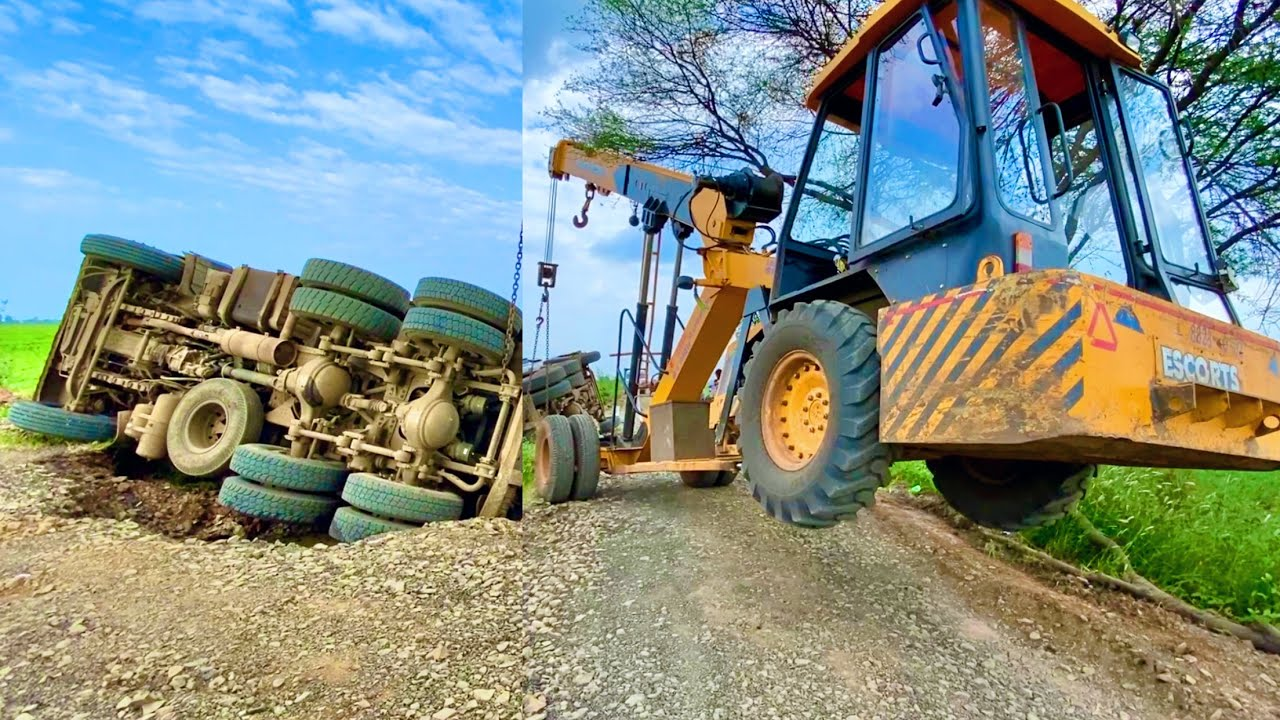 TATA Dump Truck Accident Rescuied By Escort and ACE Hydra Crane Machine and CAT JCB Machine Bac