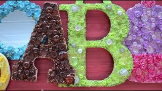 Create a Button Art Letter with our Button Artist bead and button packs!