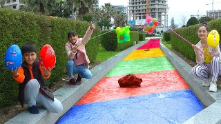 Guka Nastya and Maria play Surprice Eggs with Ball pit balls and learn colors with color River