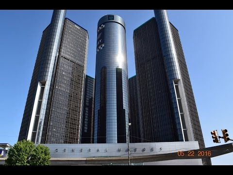 General Motors Building in Downtown Detroit and Windsor Skyline in Canada