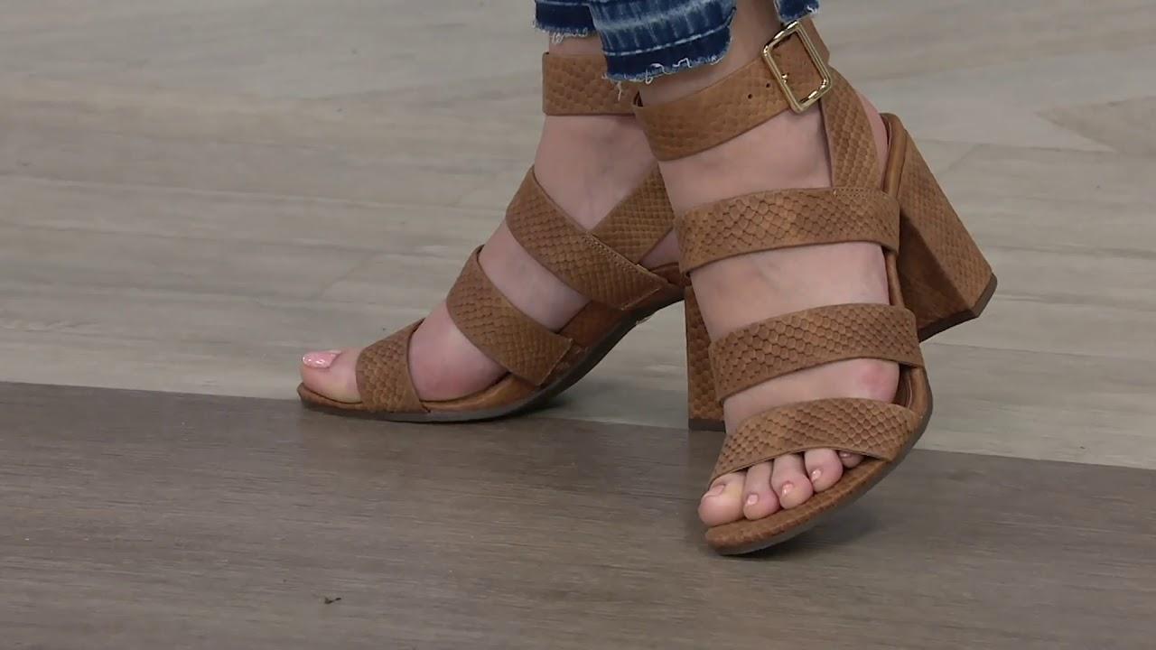 6e9129b1907 Vionic Suede Block Heel Sandals - Blaire on QVC - YouTube