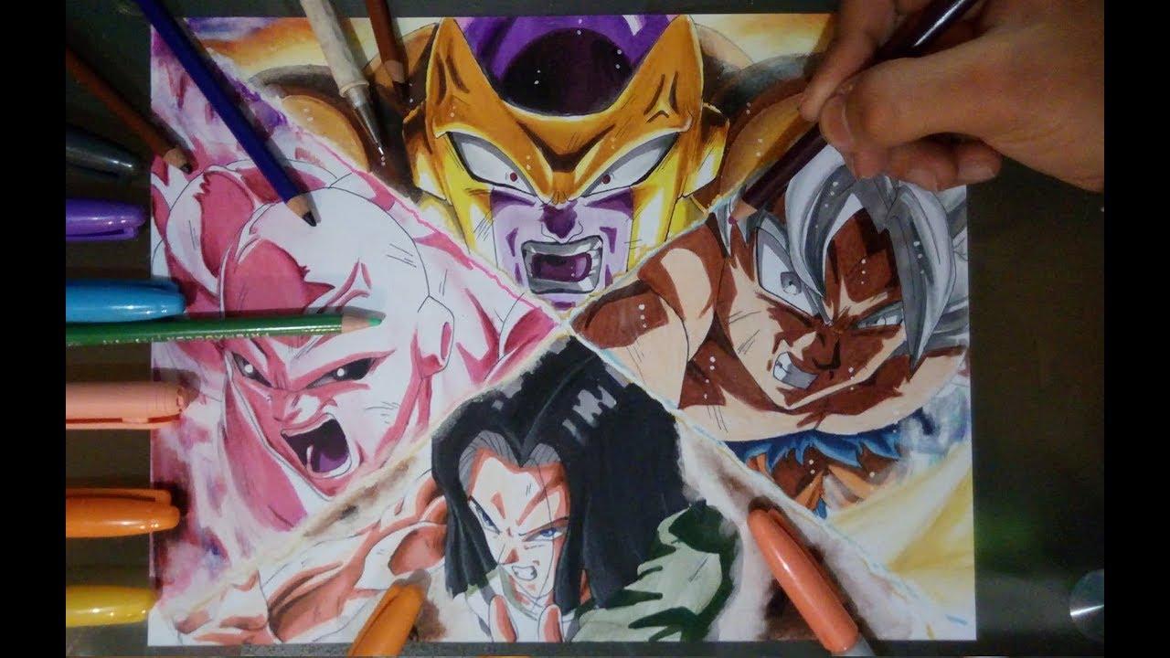 Dibujo De Goku Ultra Instinto Vs Jiren Freezer Y Androide 17