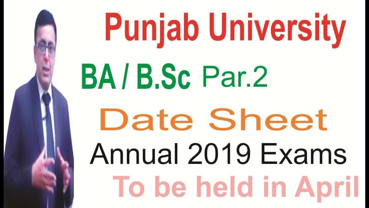 BA/B Sc Part 2 Punjab University Date Sheet for Exams to be held in April  2019