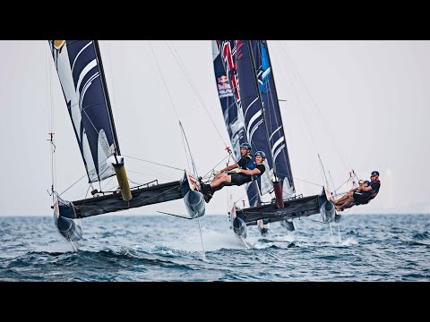 Racing the Flying Phantom Hydrofoil Catamaran