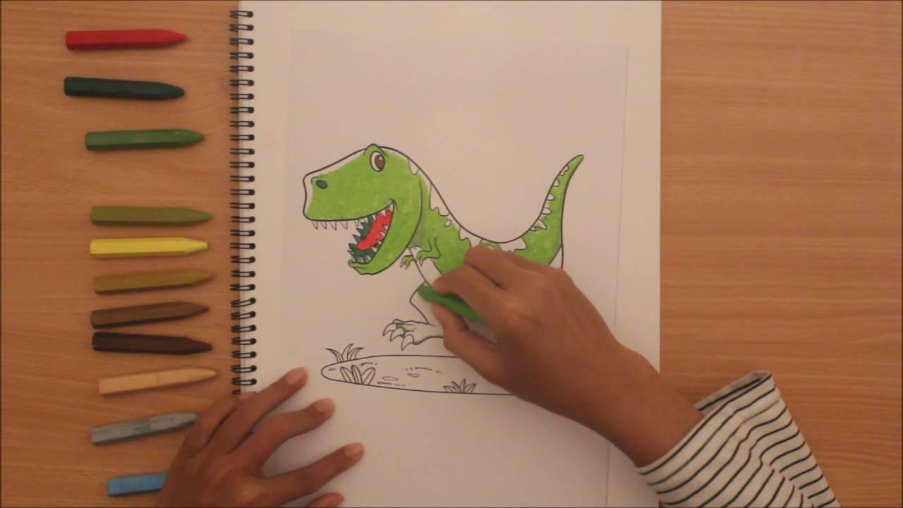 Mewarnai Dinosaurus Dengan Krayon [Tyrannosaurus]