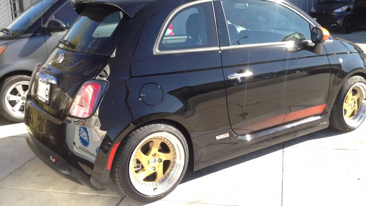 2015 FIAT 500e After Madness Lowering Springs Koni Shcok #fiat500e