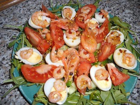 Салат с креветками и рукколой!
