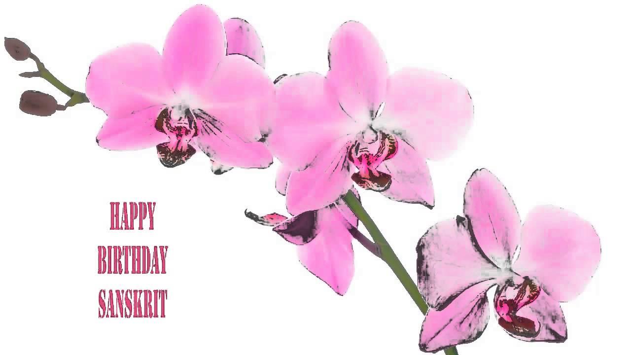 Sanskrit Flowers Flores Happy Birthday