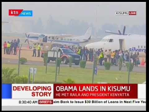 Former US President Barack Obama lands in Kisumu