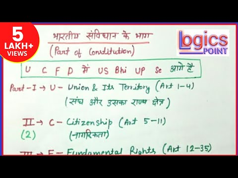 GK Tricks || संविधान के 22 भाग || Learn easily Part of Constitution ||