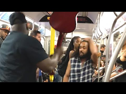 Man Breaks Performers Guitar On The Subway