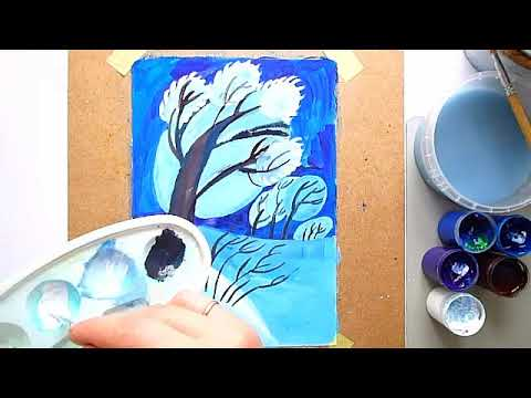 2 клас. Мистецтво. Малюємо зимову негоду гуашшю, створення динамічної композиції