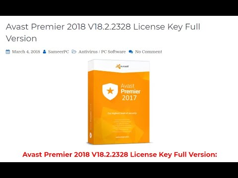Avast Premier 2018 License key Full Version - YouTube