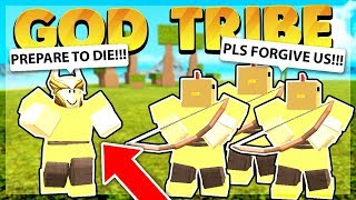 Destroying an Entire God Tribe Solo (Roblox Booga Booga)