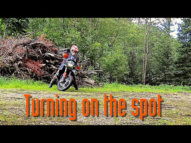 Turning an Adventure motorcycle on the spot - first try