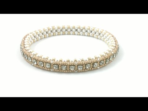 #Beading4perfectionists : 1920's Art Deco style tennis bracelet. Cupchain in a CRAW