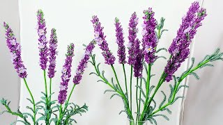 Лаванда из бисера Часть 1 МК от Koshka2015 - цветы из бисера, бисероплетение, МК Соцветия  lavender