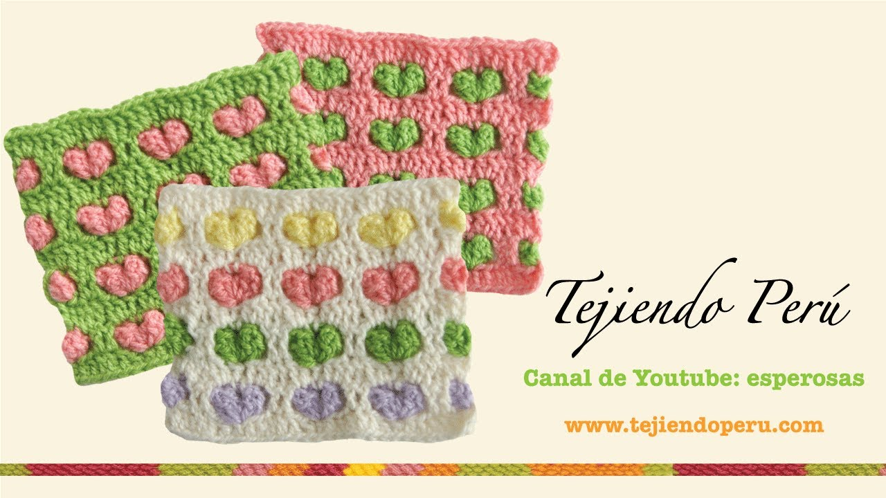 Punto con corazones en relieve para tejer a crochet - YouTube