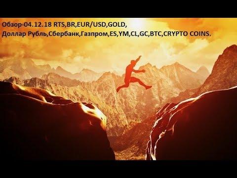 Обзор-04.12.18 RTS,BR,EUR/USD,GOLD, Доллар Рубль,Сбербанк,Газпром,ES,YM,CL,GC,BTC,CRYPTO COINS