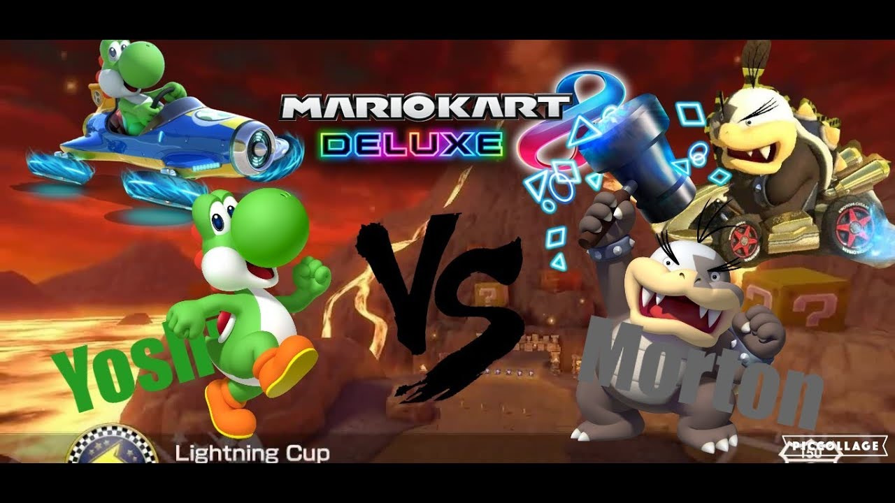 yoshi vs morton in mario kart 8 deluxe race and battle