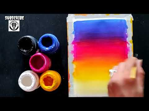 Easy Scenery Painting Ideas for Beginners, How to Blend Colours, Step by Step Painting tutorial